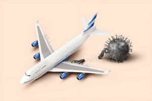 A plane and a covid-19 cell